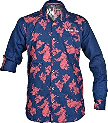CAY 100% Cotton Red Color Designer Floral Printed Shirt (Size:S)