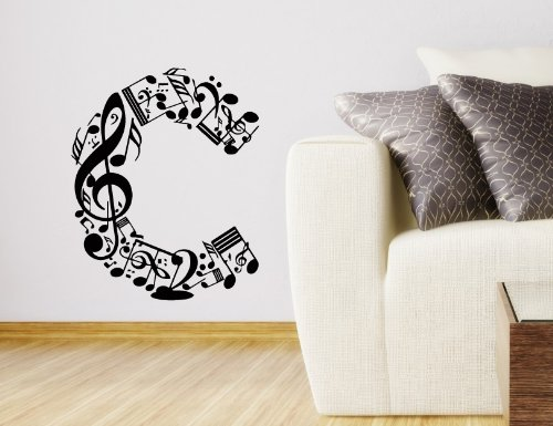 "Wall Vinyl Sticker Decal Art Design Abstract Alphabet ""C"" Made From Music Notes Room Nice Picture Decor Hall Wall Chu971 front-1035500"