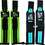 Wrist Wraps (2 Pairs/4 Wraps) for Weightlifting, Crossfit, Powerlifting, Bodybuilding - For Women & Men - Premium Quality Equipment & Accessories for the Absolutely Best Hand Strength & Support Possible - Guard & Brace Your Wrists With this Gear to Avoid Injury During Weight Lifting - (Aqua Blue & Lime Green) - 1 Year Warranty