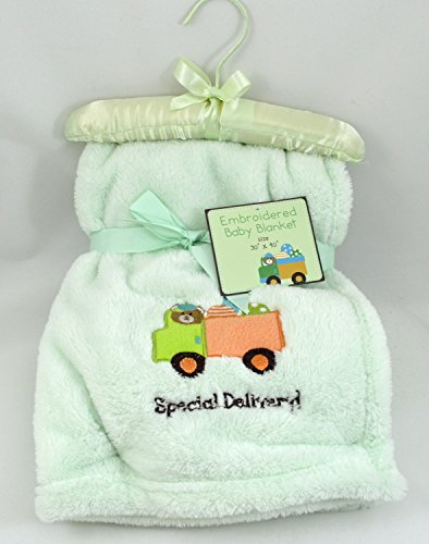 Special Delivery - Ultra Soft Embroidered Baby Blanket - Sage Green - 30x40 Inches