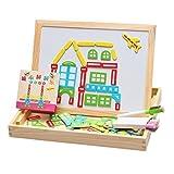 Happy cherry - (2 en 1)Puzzle Magn�tico + Pizarra - Caja Tabla de puzzle - Juguetes Juegos Educativos para Ni�os ni�as