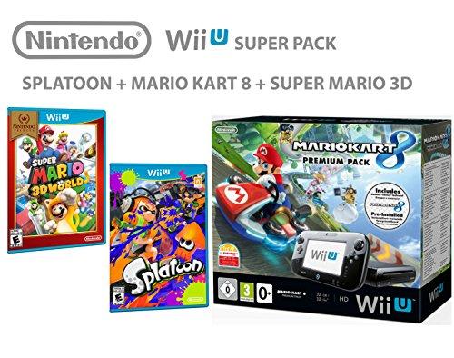 Nintendo Wii U Console Premium Pack 32GB + Mario Kart 8 + Super Mario 3D World + Splatoon - SUPER PACK