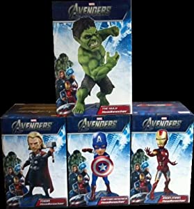 MARVEL AVENGERS HEADKNOCKERS FIGURE SET OF 4 (HULK, IRON MAN, CAPTAIN AMERICA, THOR)