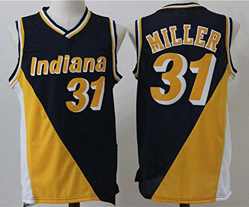 Mens Indiana Pacers Reggie Miller #31 Throwback Basketball Jersey Blue&Yellow M