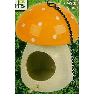 Roots and Shoots Mushroom Bird House Orange from PMS International