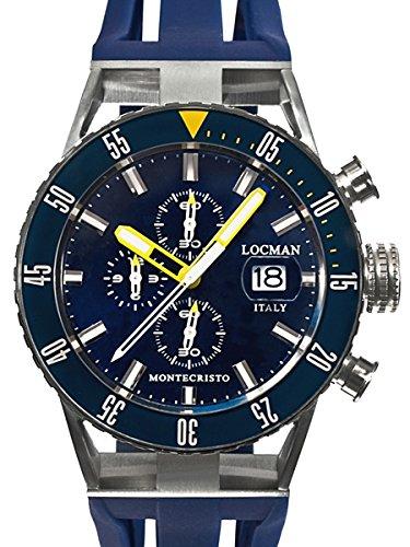 Locman Montecristo 200 Meter Quartz Chronograph Dive Watch with 44mm Case 512BLYLBL