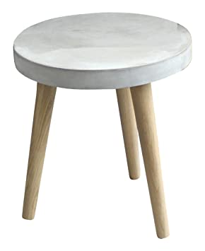 SIT-möbel table basse 9968-13 cement 60 x 37 x 43 cm, pieds en chêne et plateau, gris béton léger