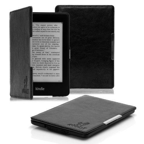 August Lion Nero Folio custodia Cover pelle PU per Amazon Kindle Paperwhite Wi-Fi / 3G, 15.2cm (solo per Kindle Paperwhite)