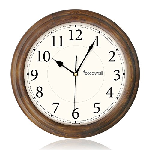 decowall-dsh-w32bs-wooden-wall-clock-non-ticking-silent-sweeping-seconds-brown-32cm