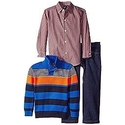 Nautica Baby Boys\' 3 Piece Set Woven Quarter Button Sweater Denim Pant, Blue, 12 Months