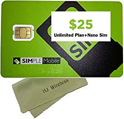 Simple Mobile Nano SIM Card with $25 Unlimited Monthly Plan. Nano Cut for iPhones SIM Prefunded Preloaded Activation Kit($25 Monthly Plan)