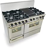 """48"""" Pro-Style Dual-Fuel Range with 6 Open Burners Vari-Flame Simmer on Front Burners 3.69 cu. ft. Convection Oven and Double Sided Grill/Griddle Stainless Steel with Brass"""