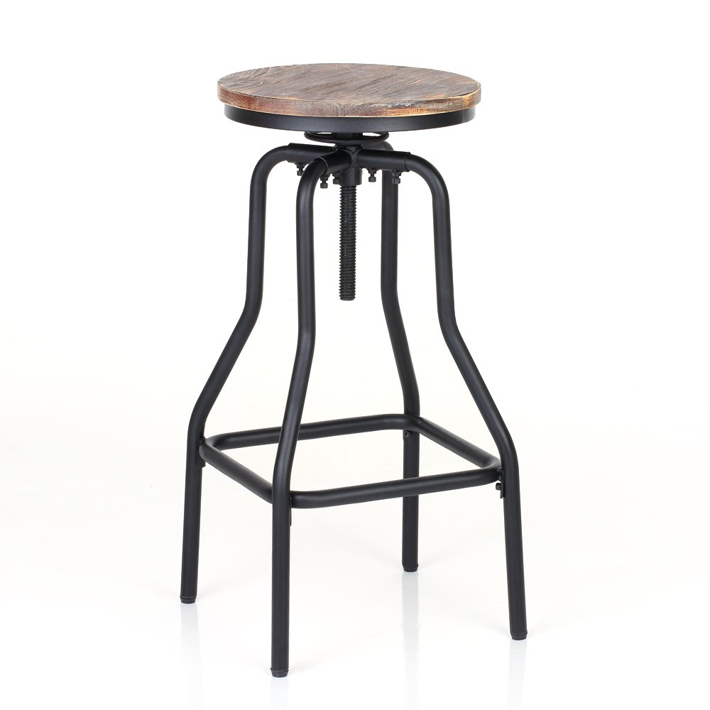 IKAYAA Adjustable Height Swivel Bar Stool Chair Kitchen Dining Breakfast Chair Natural Pinewood Industrial Style 1