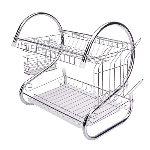 FCH 2 Tiers Kitchen Dish Cup Drying Rack Holder Organizer Drainer Dryer Tray Cutlery, Constructed with Heavy Duty and Rust-resistant Chromed Wire for Stability and Durability