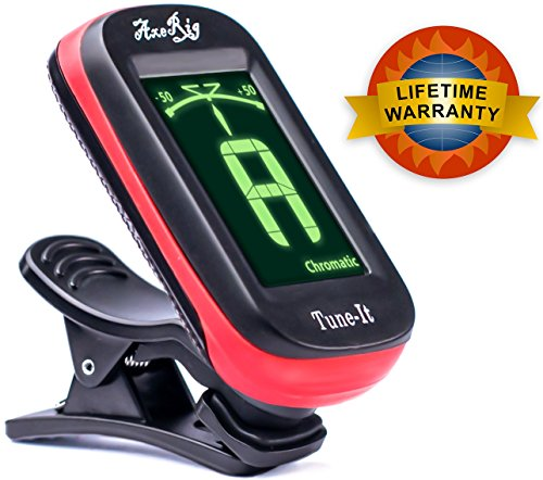 AxeRig Clip-On Chromatic Guitar Tuner for Acoustic, Bass, 6 & 12 string Guitars, Banjo, Mandolin, Ukulele, Violin, Cello, Trumpet, Brass, Sax, Flute, Woodwinds - SPARE BATTERY (Digital Tuner Guitar compare prices)