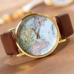 Mens/Women World Map Watch Brown from SH