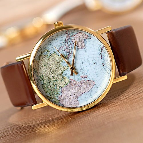 SH Mens/Women World Map Watch Brown from