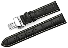 buy Istrap 24Mm Alligator Grain Cow Leather Watch Band Strap W/ Butterfly Deployment Buckle Black 24