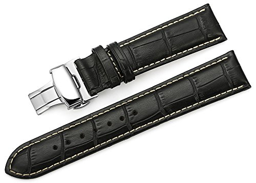 iStrap 24mm Alligator Grain Cow Leather Watch Band Strap W/ Butterfly Deployment Buckle Black 24