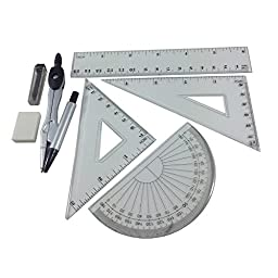 Master Art Geometry Set Ruler Set Intruments Squares Protractor Compass School Drawing Aids set 7Pcs