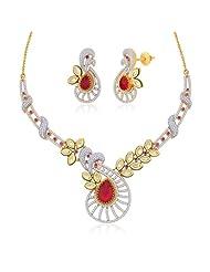 "Peora 18 Karat Gold Plated Kundan ""Rosaldine"" Necklace Earrings Set (PN437GJ)"