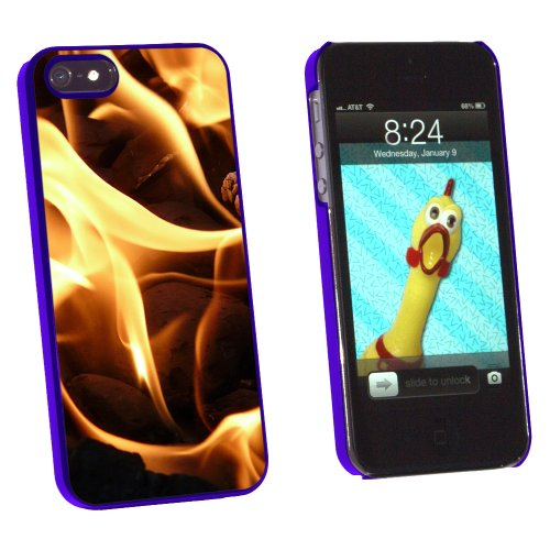 Graphics And More BBQ Barbecue Charcoals Coals Fire Flame - Snap-On Hard Protective Case For Apple Iphone 5/5S - Non-Retail Packaging - Blue