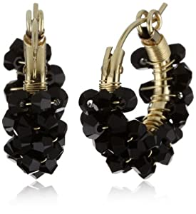 "Viv&Ingrid ""Spiral"" 14k Gold Fill .75"" Jet Swarovski Hoop Earrings"