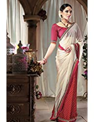 Gorgeous Cream and Maroon Chiffon Saree designed with Patch-Patti work