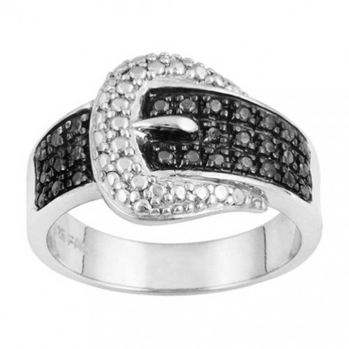 Bling Jewelry Sterling Silver CZ Pave Black and White Belt Buckle Ring (Silver Belt Buckle Ring compare prices)