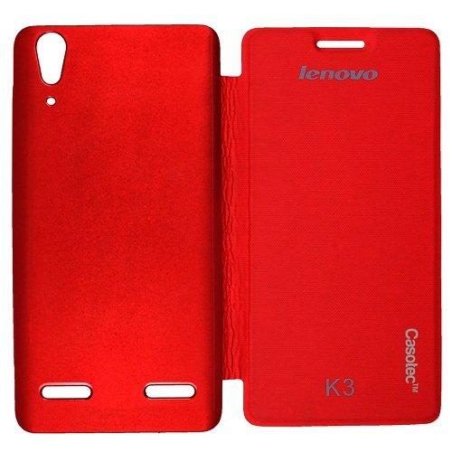 Casotec Premium Flip Case Cover for Lenovo A6000 - Red