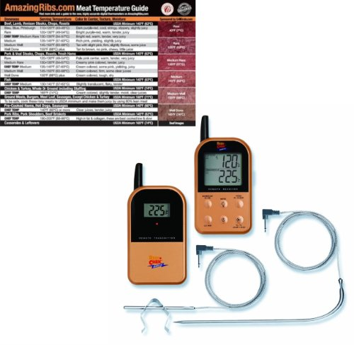 Maverick ET732 Long Range Wireless Dual 2 Probe BBQ Smoker Meat Thermometer Set with Original Meathead Meat Temperature Magnet Guide copper