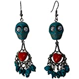 DaisyJewel Day of the Dead Turquoise Sacred Heart Skull Chandelier Dangle Earrings
