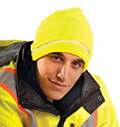 Hi-Viz Knitted Cap With Reflective Stripe - Yellow - 2 Pack