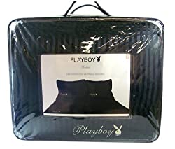 Playboy Bedding - Playboy Bunny Satin Comforter Set - Queen Size - Black Stripe