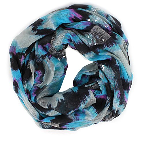 BCBGeneration Women's Blue and Teal Tie Dye Sparkle Infinity Loop Scarf, Galaxy, One Size (Purple Tie Dye Scarves compare prices)