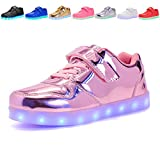 Voovix Kids LED Light up Shoes Flashing Low-Top Sneakers For Boys and Girls Child Unisex(pink01,US8.5/CN26)