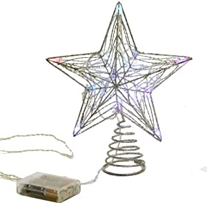 Sterling 10 Light Color Changing Silver Mesh Star Tree Topper
