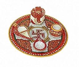 Crafticia Spiritual Pooja Plate Set Marble Pooja & Religious Thali Set 5 Pieces Standard White