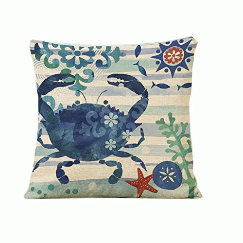 Crab Cotton Linen Pillow Cover marine life Oil Painting Home Decorative Pillowcase Cushion Cover