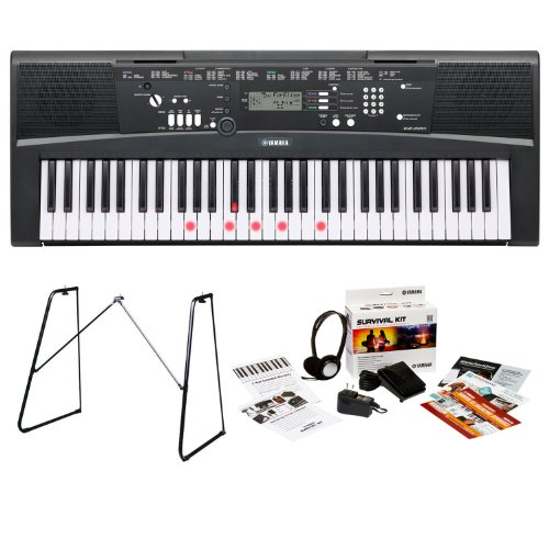 Yamaha Ez220 61 Touch Sensitive Lighted Keys Portable Keyboard Bundle With Yamaha L3C Attachable Keyboard Stand And Survival Kit (Includes Power Supply And 2 Year Extended Warranty)