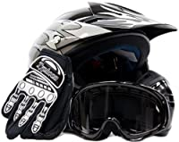 Youth Offroad Gear Combo Helmet Gloves Goggles DOT Motocross ATV Dirt Bike Motorcycle Silver Black - Medium by Typhoon Helmets