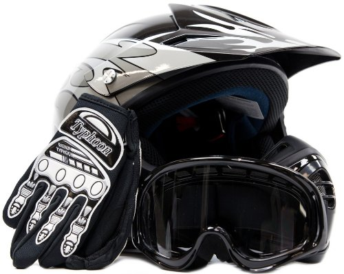 S-XL DOT Motorcycle Offroad Helmet+Goggles+Gloves Motocross Protector Guard WCV