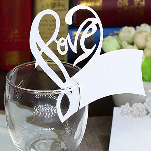 BUTEFO 50 Pcs of Wedding Table Paper Place Card Escort Name Card Wine Glass Card for Wedding Party Decoration (Love - White)