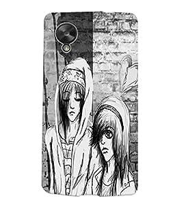 Fuson Black & White Couple Back Case Cover for LG GOOGLE NEXUS 5 - D3823