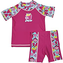 grUVywear UV Protective (UPF 50+) 2 Piece Bugz N Berries Set Baby Girl Swimsuit-0-6 M