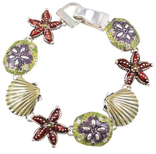 Silver Tone Magnetic Clasp Seashells, Starfish And Sand Dollars Charm Bracelet Women And Teens