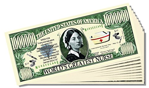 """World's Greatest Nurse"" Million Dollar Bill - 25 Count with Bonus Clear Protector & Christopher Columbus Bill - 1"