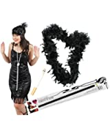 BLACK FLAPPER FANCY DRESS INSTANT GATSBY KIT WITH BLACK SEQUIN FLAPPER DRESS + BLACK FEATHER BOA + FEATHER HEADBAND + PEARL NECKLACE + FAKE CIGARETTE + CIGARETTE HOLDER 20S GREAT GANGSTER MOLL
