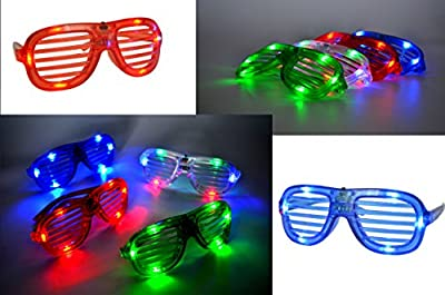 Joyin Toy 60 Pieces LED Light Up Toy Party Favor Party Pack -44 LED Finger Lights, 12 LED Flashing Bumpy Rings and 4 Flashing Slotted Shades Glasses