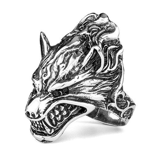 MENDINO-Costume da vampiro, Uomo, motivo lupo mannaro, con sorriso Head King Biker Wolf-Anello a fascia in acciaio INOX, acciaio inossidabile, 24,5, cod. JRG0039SI-7 UK